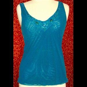 EXPRESS green nylon mesh cami tank blouse M